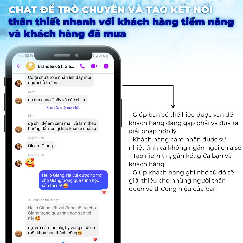 chat để trò chuyện và tạo kết nối thân thiết nhanh với khách hàng tiềm năng và khách hàng đã mua